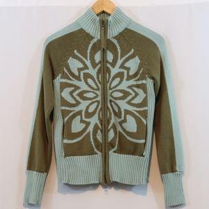 Athleta Organic Cotton Ribbed Zip Up Sweater